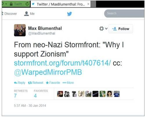 Blumenthal Stormfront Zionism
