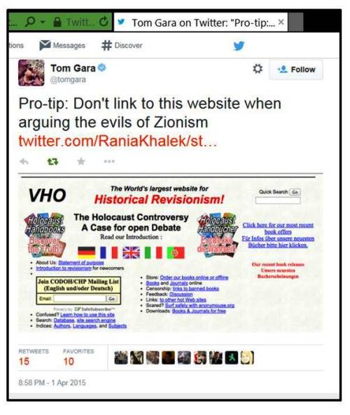 RK tweets Holocaust denial site