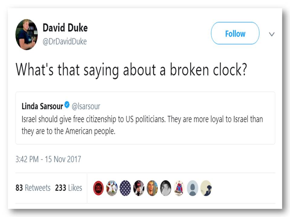David Duke defends Sarsour